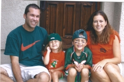 My brother Scott, sister in law Jenni, nephew Collin and niece Anna. Ready for start of college football season. They might be out in California, but still a Miami Hurricane at heart.