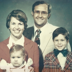 Family portrait – circa 1976. I think I feel more sorry for my brother Scott than myself.